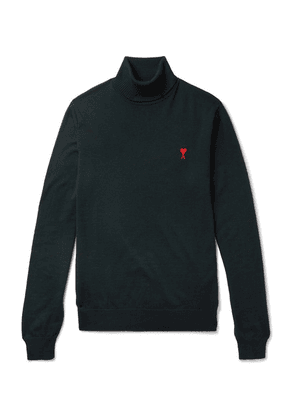 AMI - Slim-fit Logo-embroidered Merino Wool Rollneck Sweater - Green