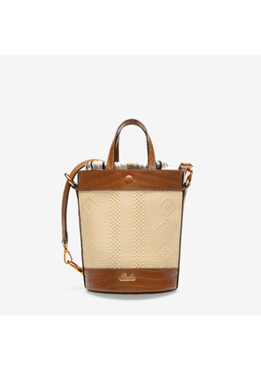 Bally Chlea Brown, Women's woven raffia and calf leather bucket shoulder bag in natural