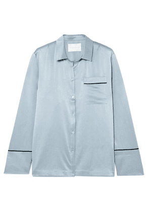 ASCENO - Silk-satin Pajama Shirt - Sky blue