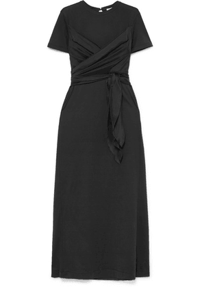 Brunello Cucinelli - Belted Draped Silk-satin And Cotton-jersey Maxi Dress - Black