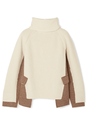 Sacai - Knitted Wool And Checked Tweed Turtleneck Sweater - Off-white