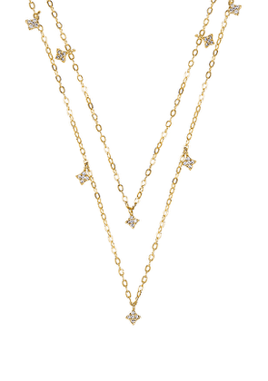 ERTH Double Shimmering Star Necklace in Metallic Gold.