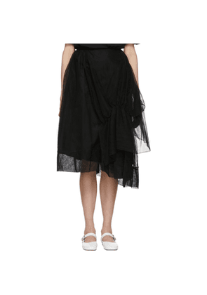 Simone Rocha Black Tulle Asymmetric Gathered Skirt