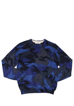 Camouflage Print Cotton Knit Sweater