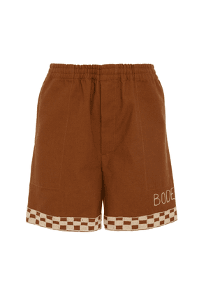 BODE Checkerboard-Trimmed Cotton Rugby Shorts