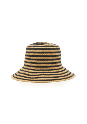 Eric Javits Dame Striped Grosrain And Straw Hat