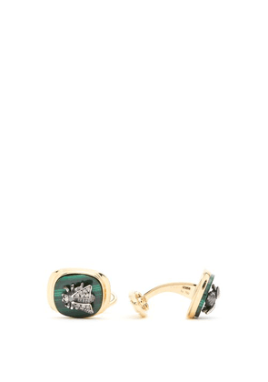 Gucci - Diamond And Malachite Bee Embellished Cufflinks - Mens - Gold