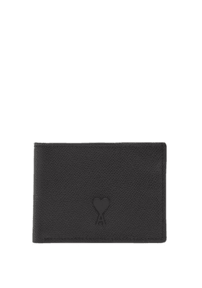 Ami - Logo Bi Fold Grained Leather Wallet - Mens - Black