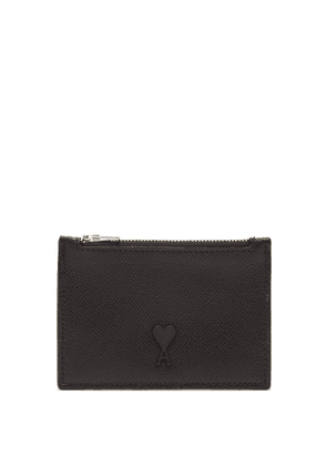 Ami - Logo Patch Zipped Leather Cardholder - Mens - Black