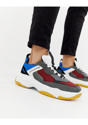 Calvin Klein Marvin chunky sole trainers in grey multi
