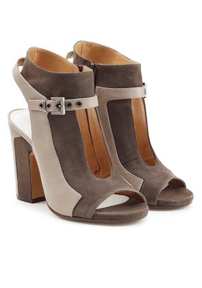 Maison Margiela Suede Two=Tone Open Toe Ankle Boots