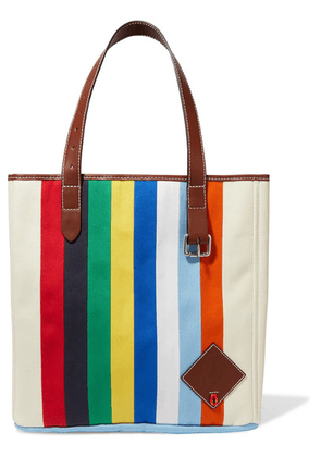 JW Anderson - Belt Leather-trimmed Striped Canvas Tote - Blue