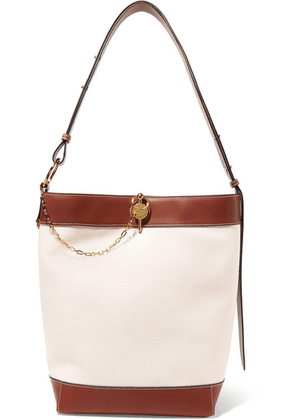 JW Anderson - Lock Leather-trimmed Canvas Tote - Off-white