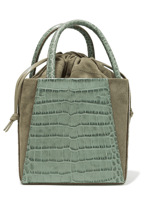 Trademark - Dorthea Box Croc-effect Leather And Suede Tote - Gray green