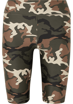 The Upside - Camouflage-print Stretch Shorts - Army green