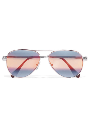 Cutler and Gross - Aviator-style Silver-tone Mirrored Sunglasses - Blue