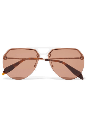 Alexander McQueen - Aviator-style Acetate And Gold-tone Sunglasses - Brown