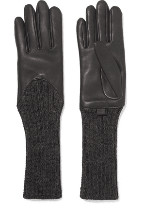 Agnelle - Leather And Ribbed Cashmere Gloves - Dark gray