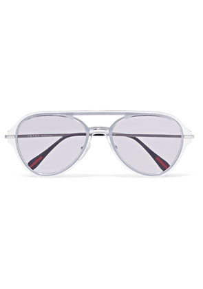 Prada - Aviator-style Silver-tone And Acetate Sunglasses - Purple