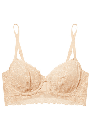 Cosabella - Sweet Treats Infinity Cutout Scalloped Stretch-lace Underwired Bra - Neutral