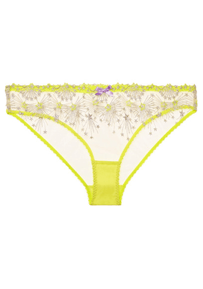 37367870e5 Agent Provocateur - Kaylie Embroidered Tulle Briefs - Yellow