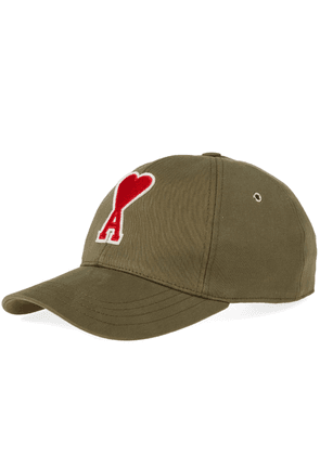 AMI Heart Embroidered Baseball Cap Khaki