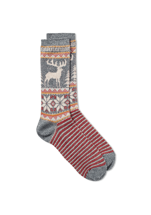 Anonymous Ism Deer Snow Jacquard Crew Sock Navy