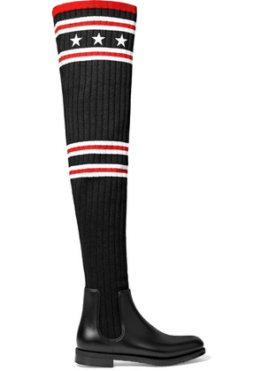 Givenchy - Storm Rubber And Ribbed-knit Thigh Sock Boots - Black