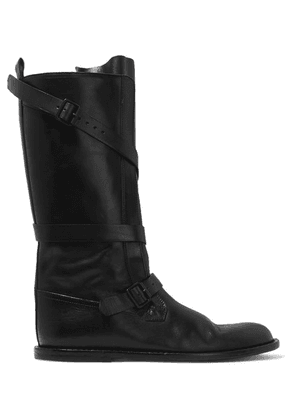 Ann Demeulemeester - Buckled Leather Knee Boots - Black