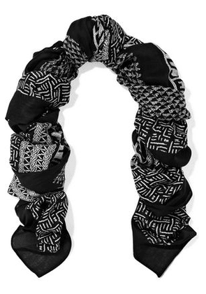 Mcq Alexander Mcqueen Woman Printed Modal-twill Scarf Black Size -