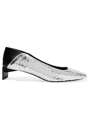 Loewe - Leather-paneled Sequined Canvas Collapsible-heel Pumps - Silver