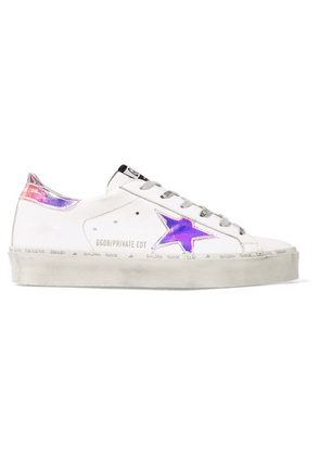 Golden Goose Deluxe Brand - Hi Star Distressed Leather Sneakers - White