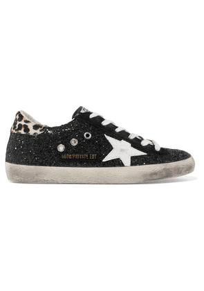 Golden Goose Deluxe Brand - Superstar Calf Hair-trimmed Distressed Glittered Leather Sneakers - Black