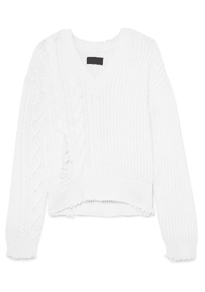 RtA - Echo Distressed Cable-knit Cotton-blend Sweater - White