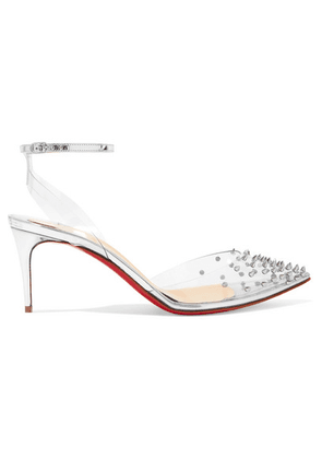 Christian Louboutin - Spikoo 70 Spiked Pvc And Mirrored-leather Pumps - Silver