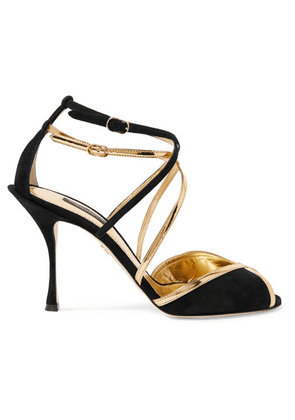 Dolce & Gabbana - Metallic Leather-trimmed Suede Sandals - Black
