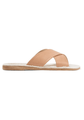 Ancient Greek Sandals - Thais Shearling-lined Leather Slides - IT35