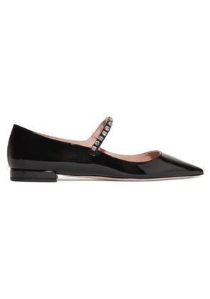 Miu Miu - Crystal-embellished Patent-leather Point-toe Flats - Black