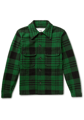 AMI - Checked Wool-blend Jacket - Green