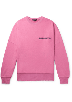 CALVIN KLEIN 205W39NYC - Oversized Distressed Logo-embroidered Loopback Cotton-jersey Sweatshirt - Pink