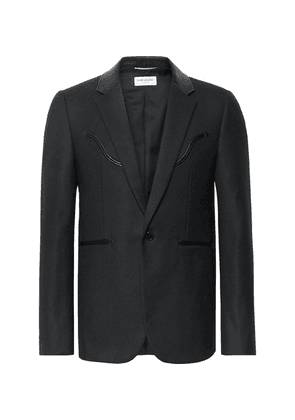 Saint Laurent - Black Slim-fit Leather-trimmed Wool Blazer - Black