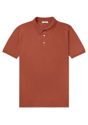 Boglioli - Slim-fit Garment-dyed Cotton Polo Shirt - Orange