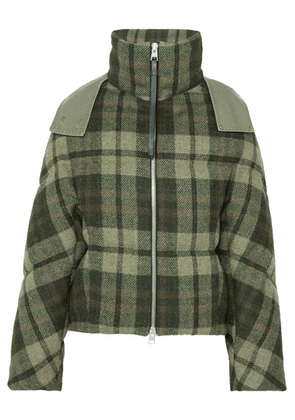 JW Anderson - Hooded Checked Wool Down Jacket - Army green