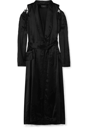 Ann Demeulemeester - Convertible Belted Satin Coat - Black