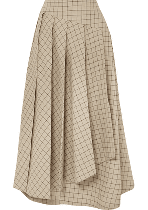 A.W.A.K.E. - Pleated Checked Cotton Midi Skirt - Beige