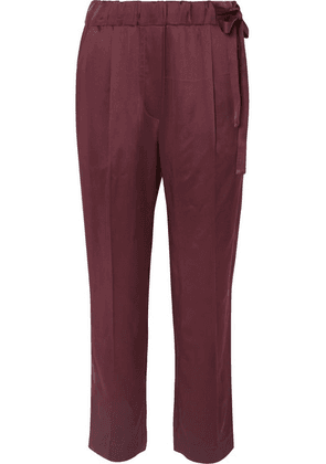 Brunello Cucinelli - Cropped Satin Straight-leg Pants - Plum