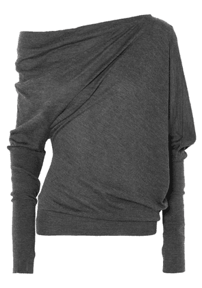 TOM FORD - One-shoulder Cashmere And Silk-blend Sweater - Dark gray
