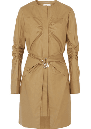 Carven - Pearl-embellished Ruched Cotton Mini Dress - Brown
