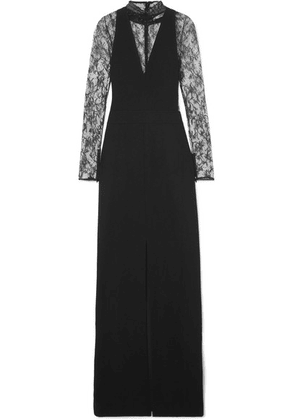 Givenchy - Lace-paneled Wool-crepe Gown - Black