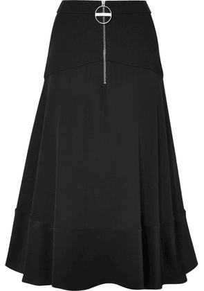 Givenchy - Paneled Hammered Silk-satin, Wool And Crepe Skirt - Black
